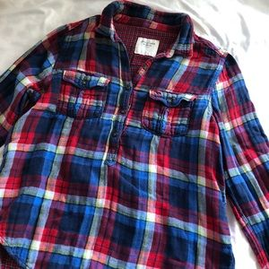abercrombie multi colored flannel